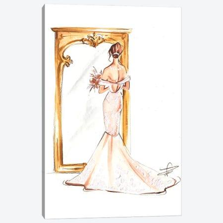 Bride In Front Of Mirror Canvas Print #DNK6} by Dorina Nemeskeri Canvas Artwork