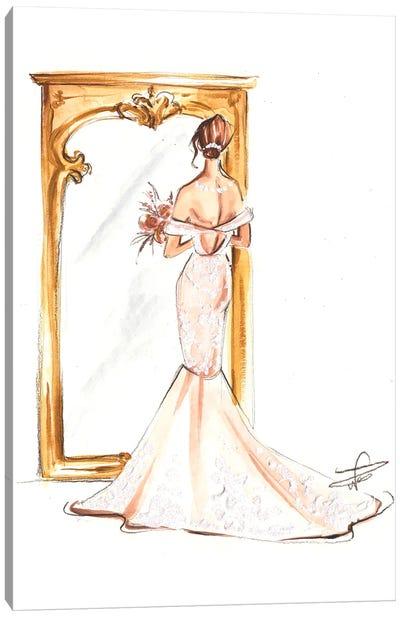 Bride In Front Of Mirror Canvas Art Print