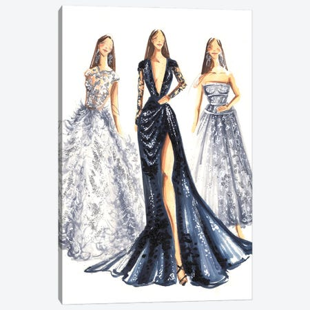 Elegant Ladies In Blue And Silver Canvas Print #DNK72} by Dorina Nemeskeri Canvas Wall Art