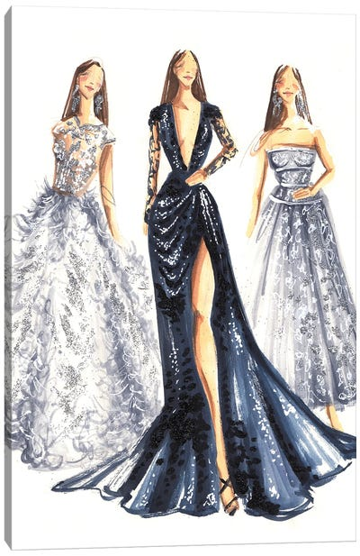Elegant Ladies In Blue And Silver Canvas Art Print