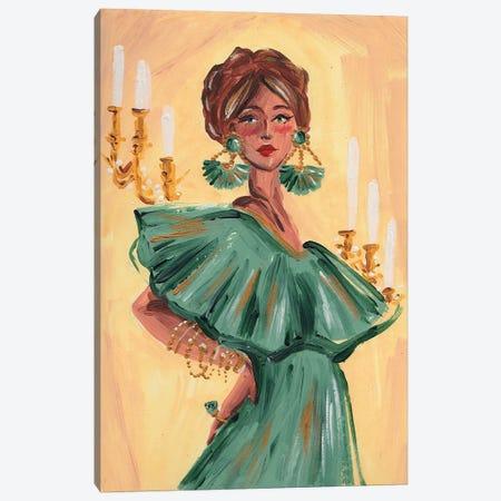 The Fortune Teller In Green Canvas Print #DNK77} by Dorina Nemeskeri Canvas Art Print