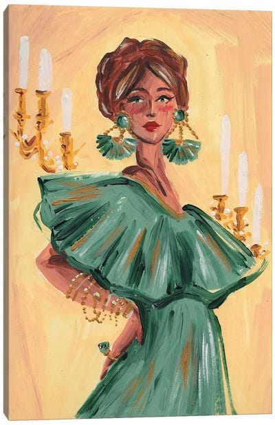The Fortune Teller In Green Canvas Art Print