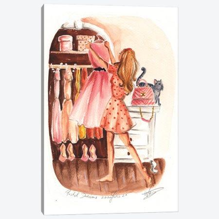 Choosing The Prom Dress Canvas Print #DNK78} by Dorina Nemeskeri Canvas Art