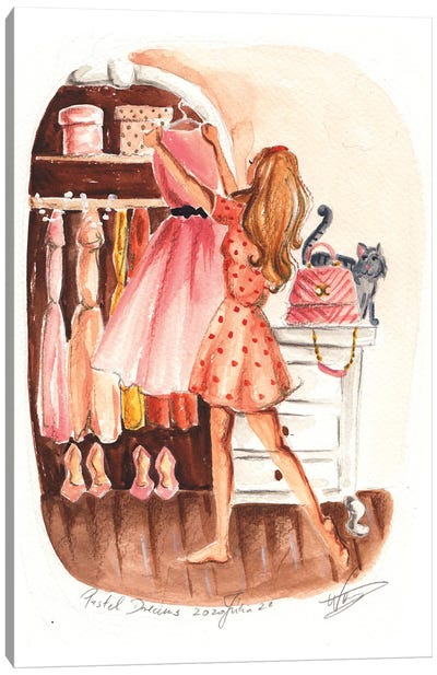 Choosing The Prom Dress Canvas Art Print
