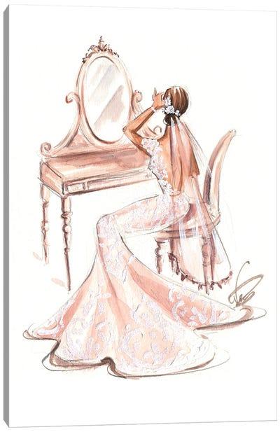 Bride In Front Of Vanity Desk Canvas Art Print