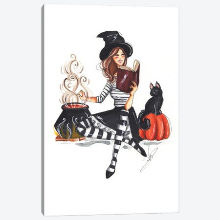 Witch And The Cat Canvas Print #DNK80} by Dorina Nemeskeri Canvas Art Print