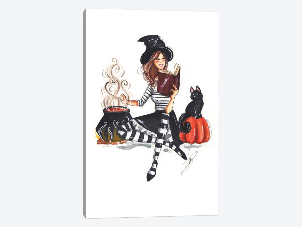 Witch And The Cat by Dorina Nemeskeri 1-piece Art Print