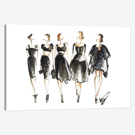 Ladies In Black On Runway Canvas Print #DNK86} by Dorina Nemeskeri Canvas Wall Art