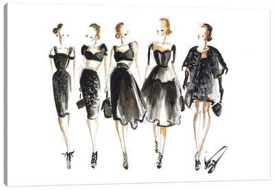 Ladies In Black On Runway Canvas Art Print