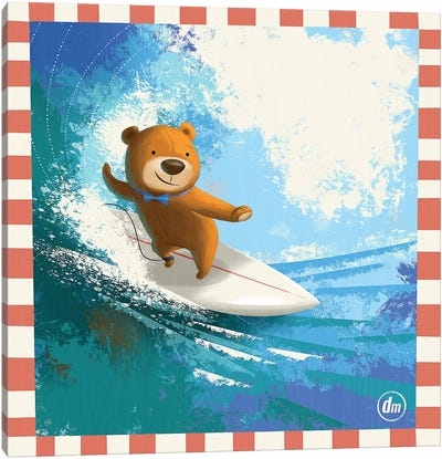 Surfing Teddy Canvas Art Print