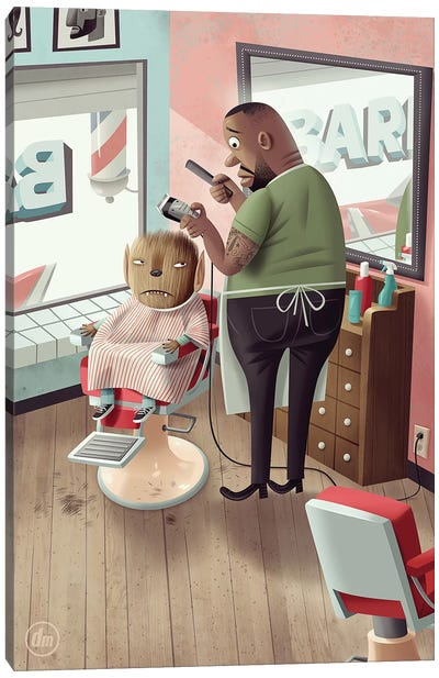 Werewolf At The Barber Canvas Art Print