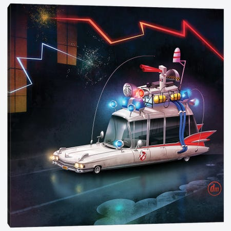 Ghostbusters Car Canvas Print #DNM6} by Dean MacAdam Canvas Wall Art
