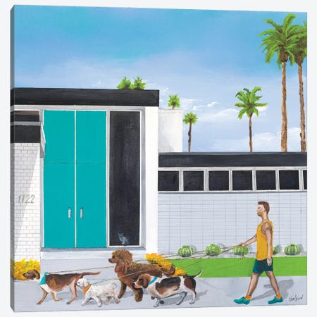 Dog Walker Canvas Print #DNN15} by Dan Nelson Canvas Wall Art