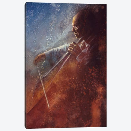 The Cello Player Canvas Print #DNT108} by Denton Lund Art Print
