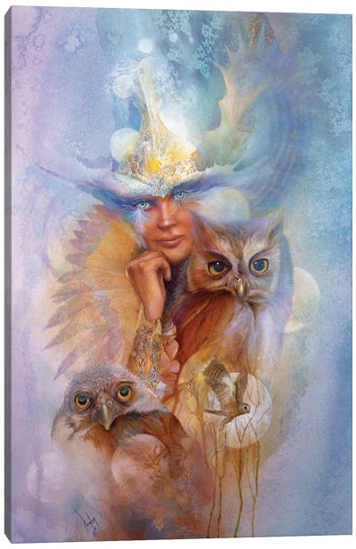 Athena And The Owls Canvas Art Print