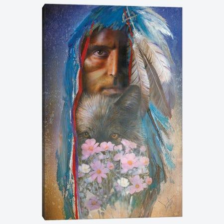 Blue Wolf Canvas Print #DNT17} by Denton Lund Canvas Artwork