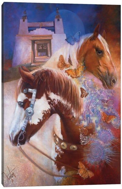 Caballos Y Mariposas (Horses & Butterflies) Canvas Art Print