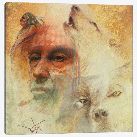 Call Of The White Wolf Canvas Print #DNT22} by Denton Lund Canvas Wall Art