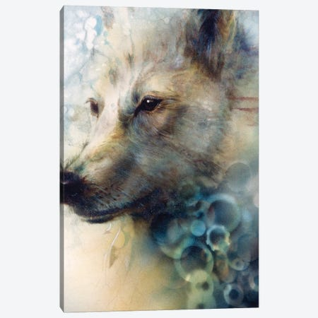 Snow Wolf Canvas Print #DNT92} by Denton Lund Canvas Art Print
