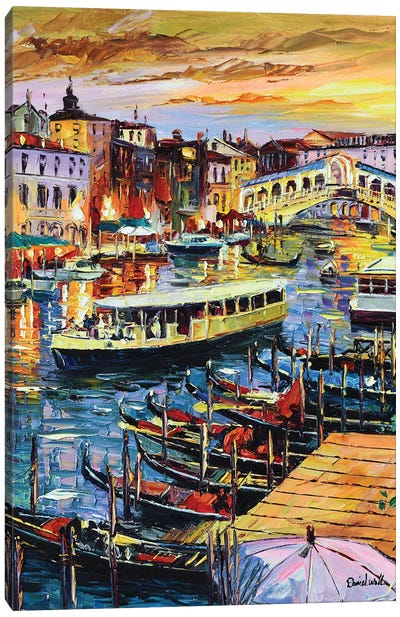 Busy Vegas Canal Canvas Art Print