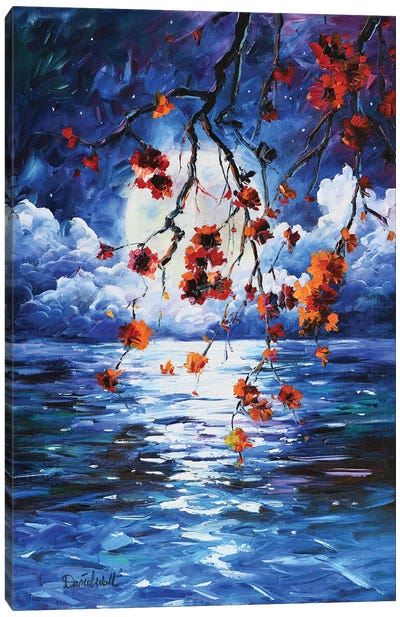 Blue Ocean Moon Light Canvas Art Print