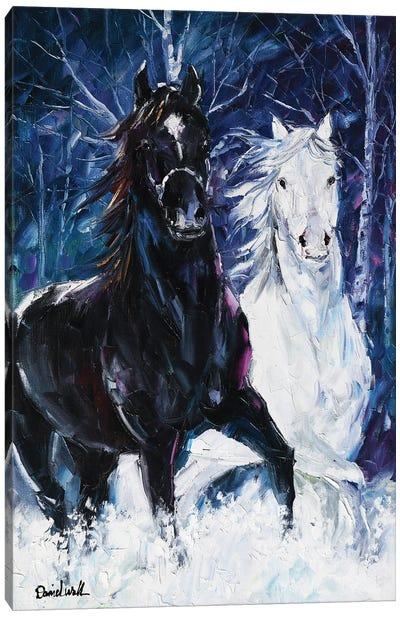 Snow Horses Canvas Art Print
