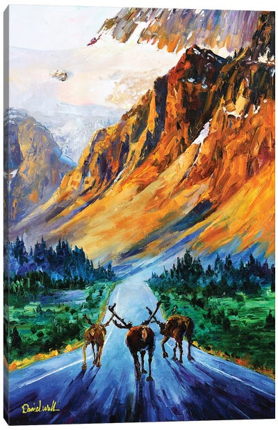 Mountain And Mooses Canvas Art Print