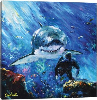 Ocean Shark Diver Canvas Art Print