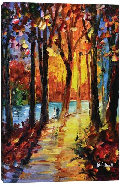 Romantic River Sunset Canvas Art Print
