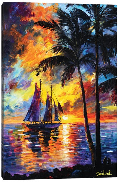Sunset Ocean Sailing Canvas Art Print