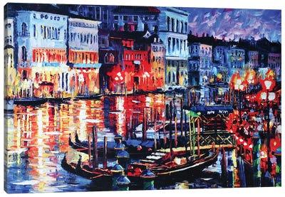 Venice Canal Light Canvas Art Print