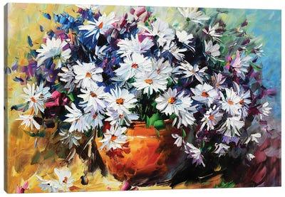 White Mums Canvas Art Print