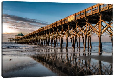Sun Bath On Folly Beach Canvas Art Print