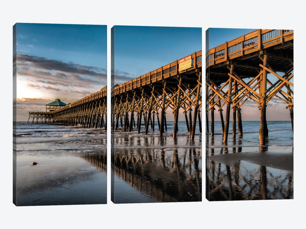 Sun Bath On Folly Beach by Danny Head 3-piece Canvas Print