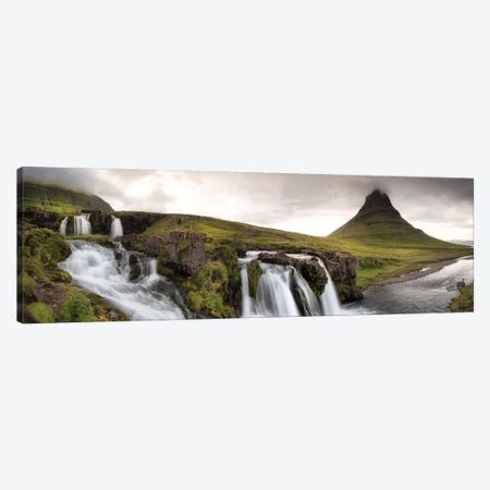 Kirkjufellsfoss Panorama Canvas Print #DNY67} by Danny Head Canvas Artwork