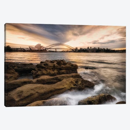 Sydney In Gold And Blue Canvas Print #DNY87} by Danny Head Canvas Artwork