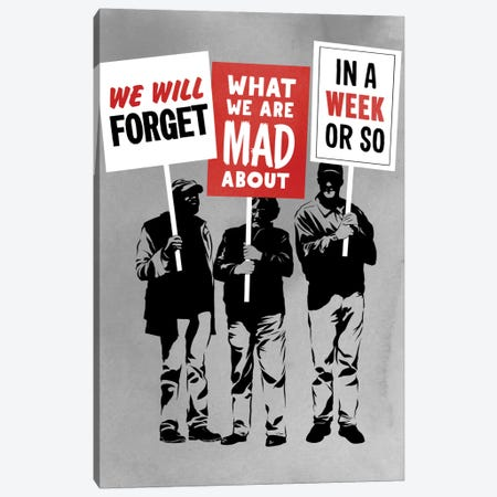 Semi-Protesting 3-Piece Canvas #DOB45} by Rob Dobi Canvas Art