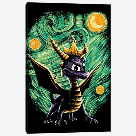Starry Dragon Canvas Print #DOI101} by Denis Orio Ibañez Canvas Art Print