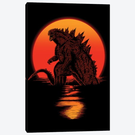 Kaiju On Sunset Canvas Print #DOI300} by Denis Orio Ibañez Canvas Print