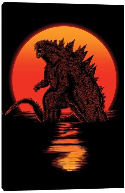 Kaiju On Sunset Canvas Art Print