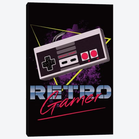 Retro Gamer Canvas Print #DOI352} by Denis Orio Ibañez Canvas Art