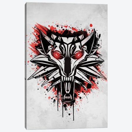 Splatter White Wolf Canvas Print #DOI361} by Denis Orio Ibañez Art Print