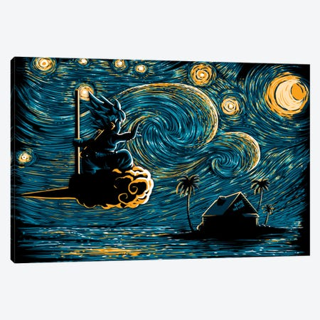 Starry Saiyan Canvas Print #DOI430} by Denis Orio Ibañez Canvas Print