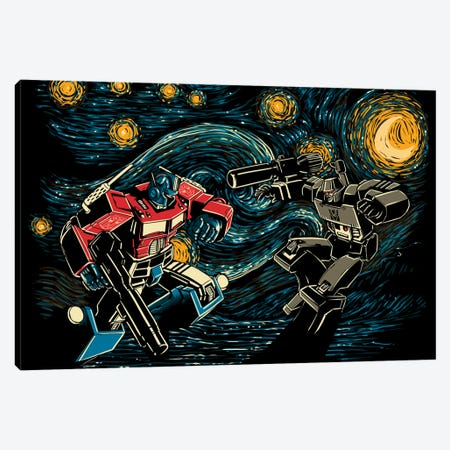 Starry Battle Canvas Print #DOI474} by Denis Orio Ibañez Canvas Wall Art