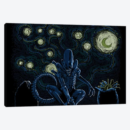 Starry Xenomorph Canvas Print #DOI482} by Denis Orio Ibañez Canvas Art