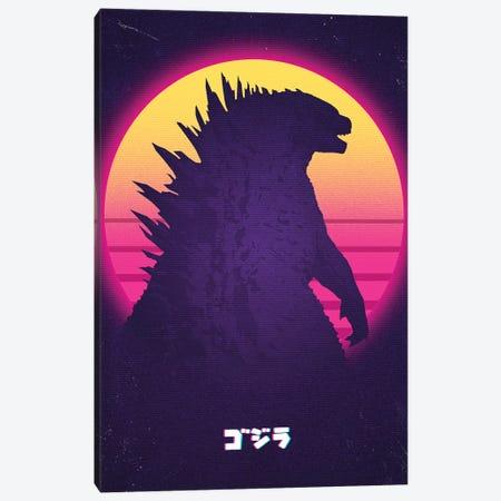 Kaiju In Retro Canvas Print #DOI57} by Denis Orio Ibañez Canvas Artwork