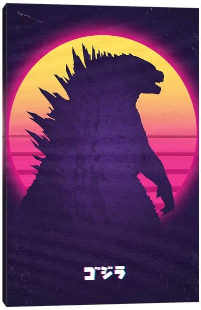 Kaiju In Retro Canvas Art Print