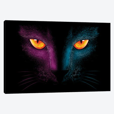 Neon Cat Canvas Print #DOI66} by Denis Orio Ibañez Canvas Art Print