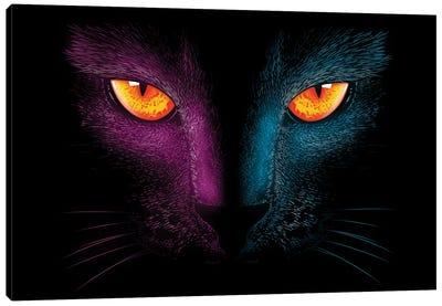 Neon Cat Canvas Art Print