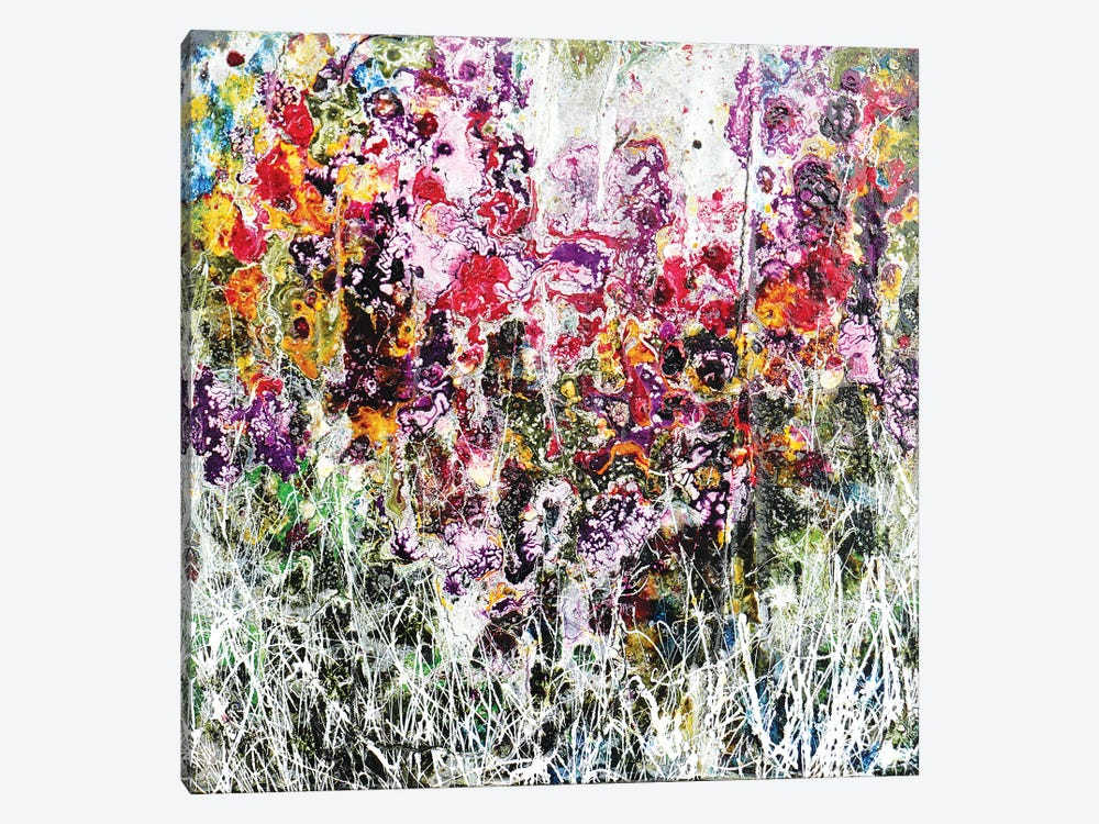 Purple And Flowers by Donatella Marraoni 1-piece Canvas Wall Art